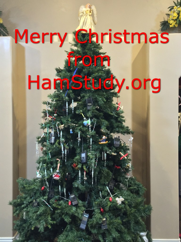 HamStudy.org Christmas Tree with HT ornaments